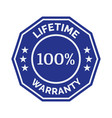 lifetime warranty flat badge vector image