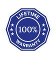 lifetime warranty flat badge vector image vector image