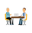 male therapist in uniform sitting behind table and vector image vector image