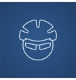 Man in bicycle helmet and glasses line icon