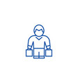 man with shopping bags line icon concept man with vector image vector image