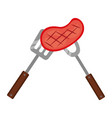 meat steak with fork and spatula vector image vector image