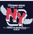 Motorcycle Brooklyn t-shirt print vector image vector image