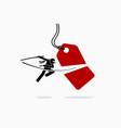 ninja cuts and slash a price tag into half vector image vector image