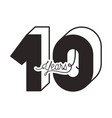 number 10 for anniversary celebration card icon vector image vector image