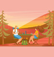 people enjoy sunset in forest flat 2d vector image