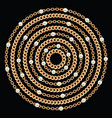 round pattern made with golden chains and pearls vector image vector image