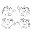 Set cartoon smiling purses outline vector image