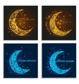 Set greeting cards with decorative crescent vector image vector image