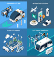 smart city concept icons set vector image vector image