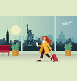 the girl with suitcase at airport against vector image