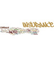 the on different types of auto insurance text vector image vector image