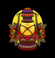 traditional oil lamp tattoos vector image vector image