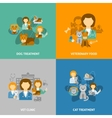 Veterinary clinic 4 flat icons square vector image vector image
