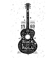 vintage grunge label with guitar vector image vector image