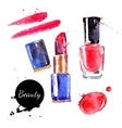Watercolor cosmetics set Hand painted make up vector image vector image