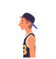young man in baseball cap side view vector image vector image