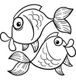 zodiac pisces or fish coloring page vector image vector image