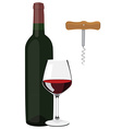 Glass bottle and corkscrew vector image
