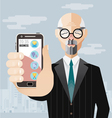 Old Business man with smartphone vector image