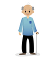 Bald man with walking stick vector image vector image