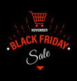 black friday sale banner with shopping cart vector image vector image