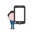 businessman character holding smartphone color vector image