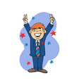 businessman happy cartoon vector image