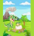 cartoon mother tyrannosaurus with bahatching vector image vector image