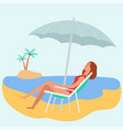 caucasian woman or a girl in a swimsuit brown hair vector image vector image