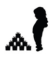 child happy silhouette with gift box vector image vector image