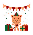 color of nice cat cartoon with vector image