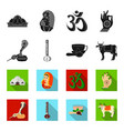 country india blackflet icons in set collection vector image vector image