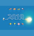 creative light bulb idea with 2019 new year vector image