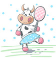 cute cow plat big tennis vector image
