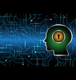 cyber security keyhole lock circle human head vector image vector image