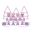 degraded outline happy men friends with nice vector image vector image