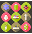 easter flat styled circle icon set 7 with long vector image vector image
