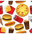 Fast food and drinks seamless pattern vector image vector image