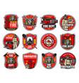 firefighting icons heraldic symbols labels vector image vector image
