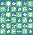 flowers seamless pattern with flat glyph icons vector image vector image