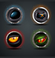 four scary eyes steely rounded badge icon for vector image vector image