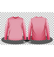 front and back pink long sleeves t-shirt vector image