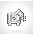 Grain harvester machine black line icon vector image vector image