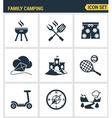 Icons set premium quality of family camping travel vector image