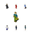 Isometric person set of hostess plumber male and