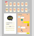 kakao talk messenger design mockup and stickers vector image