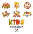 kids organic menu hand drawn banner cartoon vector image