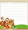 Line paper design with wild animals vector image