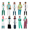 muslim doctor and arabian nurse icons vector image vector image